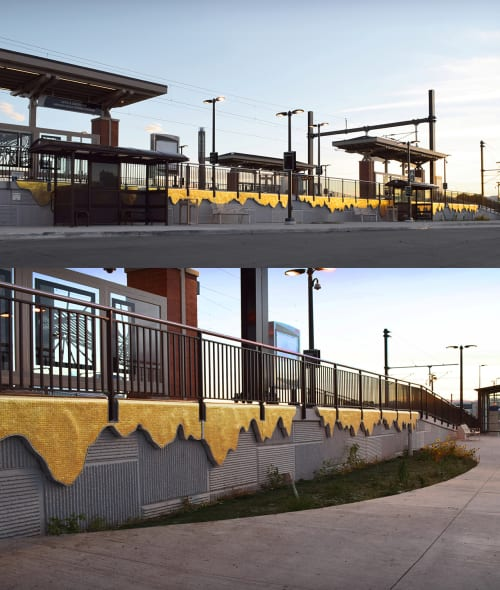 Public Sculptures by Aaron T. Stephan seen at 60th & Sheridan Arvada Gold Strike Station, Arvada - Gold Pour
