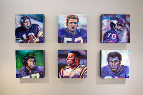Paintings by Leslie Barlow seen at U.S. Bank Stadium, Minneapolis - MN Vikings