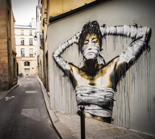 Murals by Eddie Colla seen at L'Ivress Bourse, Paris - Rue du Croissant Mural