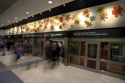 Wall Treatments by Nancy Blum seen at Seattle-Tacoma International Airport, Seattle - Flower Wall