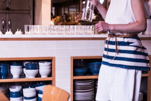 Aprons by Matt Dick - Small Trade Company seen at Tartine Manufactory, San Francisco - Blue and White Japanese Striped Canvas Apron