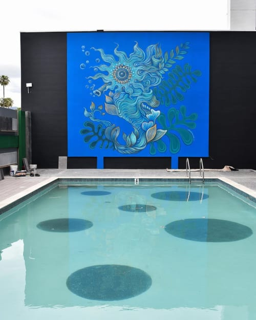 Murals by Gloria Muriel seen at Holiday Inn Express & Suites Ensenada Centro, Ensenada - Sacred Seahorse