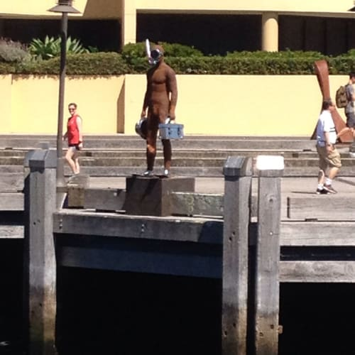Public Sculptures by Nicole Allen Sculpture seen at Finger Wharf, Woolloomooloo - Fish Out Of Water