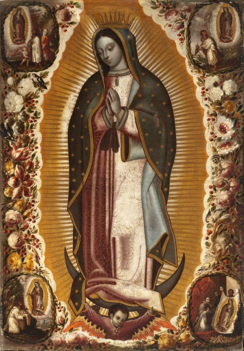 Paintings by Manuel de Arellano seen at Art of The Americas Building, Los Angeles - Virgin of Guadalupe (La Virgen de Guadalupe)