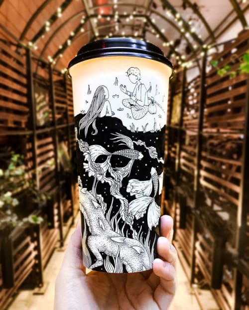 Murals by Loe Lee seen at Private Residence, New York - Coffee Cup Design