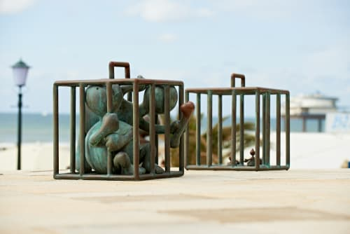 Sculptures by Tom Otterness seen at Museum Beelden aan Zee, Scheveningen, The Netherlands, Den Haag - Untitled