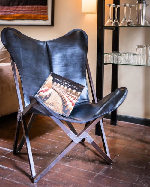 Chairs by Big BKF Buenos Aires seen at Be Jardín Escondido by Coppola, Palermo - Polo Tanguero Leather Butterfly Chair