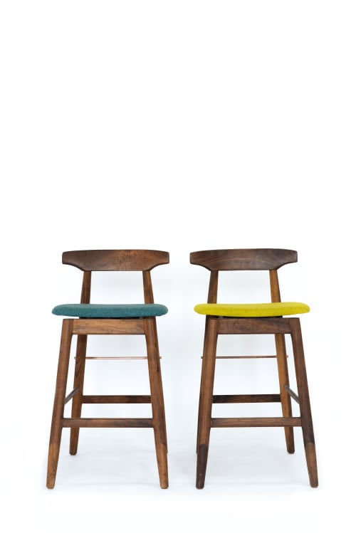 Chairs by Chris Earl seen at Otium, Los Angeles - High Wood Stools