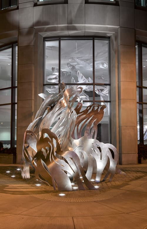 Sculptures by Mia Pearlman seen at Liberty Mutual Insurance, Boston, MA, Boston - Uplift
