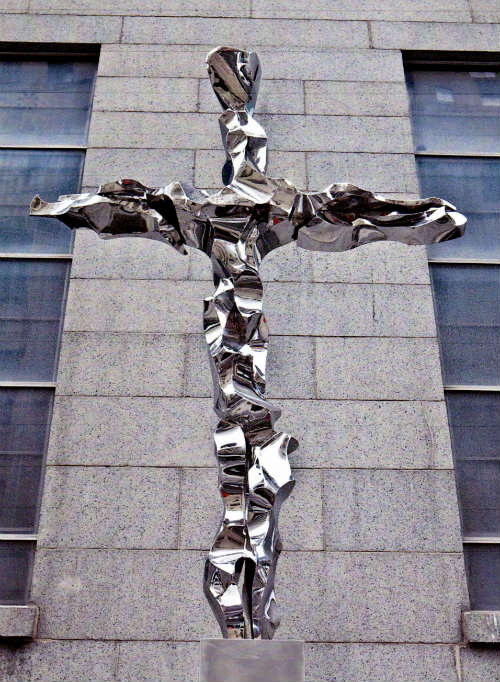 Sculptures by Jon Krawczyk seen at St. Peter's Roman Catholic Church, New York - 9-11 Cross
