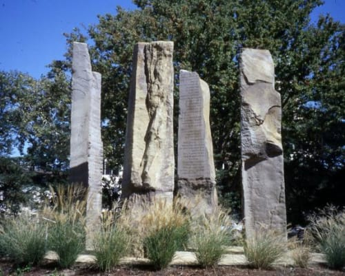 Sculptures by Beverly Pepper seen at California Environmental Protection Agency, Sacramento - Sacremento Stele