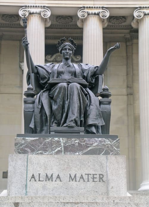 Sculptures by Daniel Chester French seen at Columbia University, New York, New York - Alma Mater