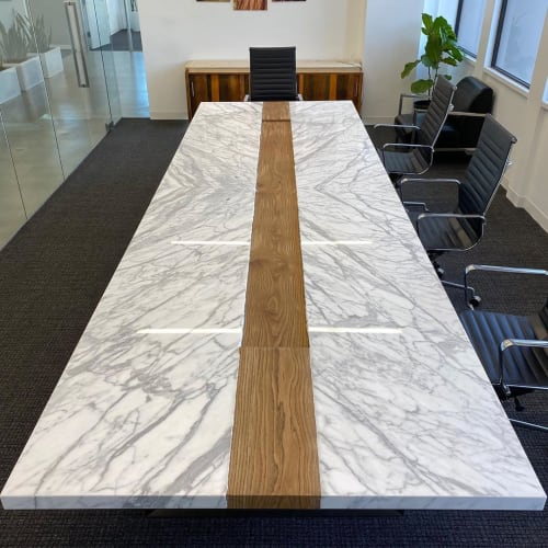 Tables by Angel City Woodshop seen at The Accident Guys, Los Angeles - Marble Conference Table