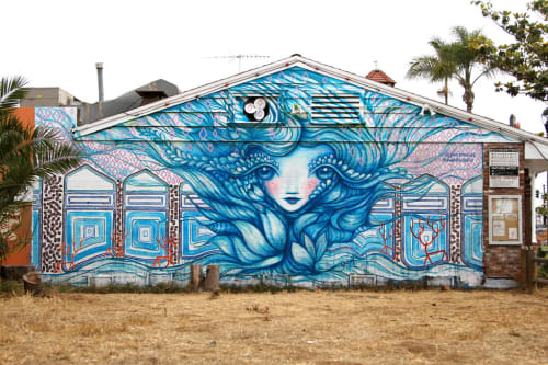 Murals by Gloria Muriel seen at Señor Grubby's, Carlsbad - The Blooming Mermaid