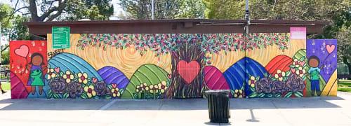 Street Murals by Skye Amber Sweet of Skyepoet seen at Holly Park, Hawthorne - Frog Mural