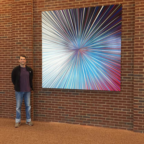 """Paintings by Gibbs Rounsavall Artist seen at KCD Theater, Louisville - """"LHC and the Search for the Higgs Boson"""""""
