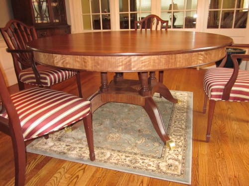 Tables by David Boynton Cabinet Maker LLC seen at Private Residence, Hanover - Duncan Phyfe Walnut Dining Table