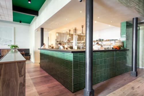 Tiles by Fireclay Tile seen at Mister Jiu's, San Francisco - Parquet Tile in Sea Green