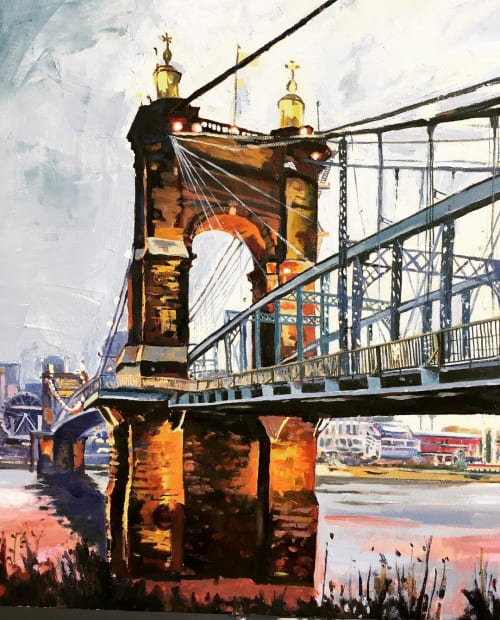 Paintings by Tony Lipps seen at Reminger Co., LPA, Cincinnati - Roebling Suspension Bridge early morning