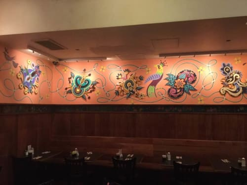 Murals by Arnie Charnick seen at Veselka, New York - Veselka Blooms