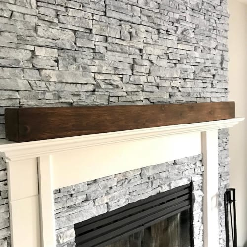 Furniture by Cask Woodworking seen at Private Residence, Sherwood Park - Wood Fireplace Mantle