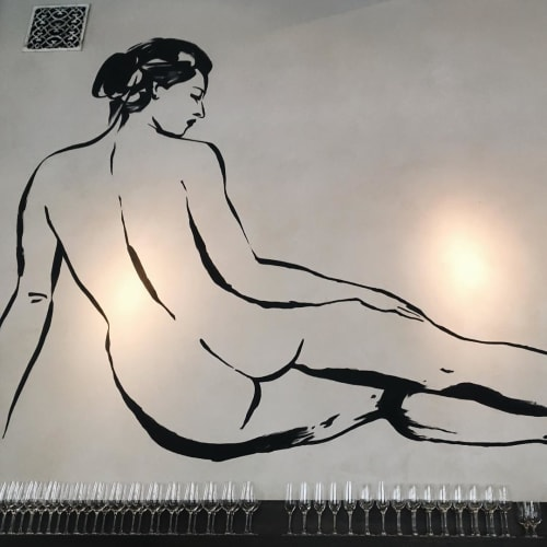 Murals by Ebecho Muslimova seen at Trou Normand, San Francisco - Nude Mural