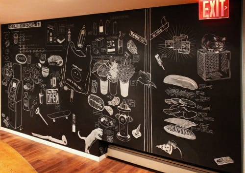 Murals by Evan Paul English seen at Supply & Demand, New York - Bodega Field Guide