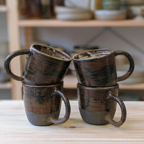 Cups by Ceramicsbytiz seen at Private Residence, Tallinn - Black Clay Mugs