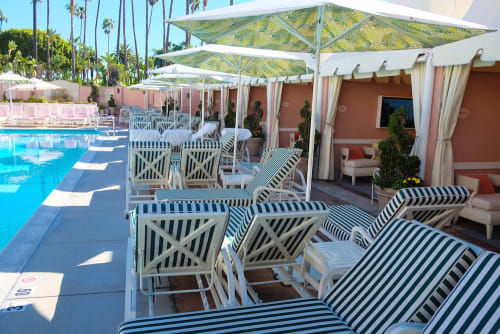 Interior Design by Santa Barbara Designs seen at The Beverly Hills Hotel, Beverly Hills - Custom Poo Umbrellas