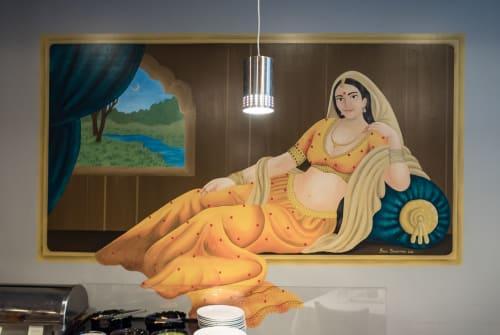Murals by Artist Couple seen at Papadom Indian Restaurant, Austin - Mural