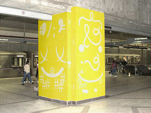 Murals by Bob Zoell seen at Wilshire/Vermont Station, Los Angeles, CA, Los Angeles - Metro Columns