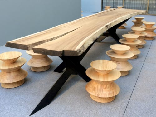 Tables by Knibb Design by Sean Knibb seen at The LINE LA, Los Angeles - Communal Wood Table and Chairs