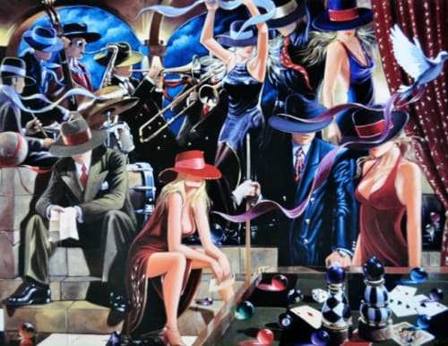 Paintings by Victor Ostrovsky seen at The Alise San Francisco - A Staypineapple Hotel, San Francisco - End Game II