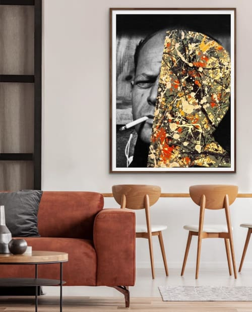 Paintings by Andrew Cotton Art 100% COTTON seen at MASS District, Fort Lauderdale - Jackson Pollock Portrait Painting