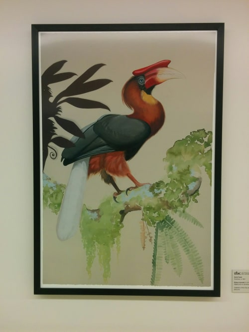 Paintings by David Tomb seen at Zuckerberg San Francisco General Hospital and Trauma Center, San Francisco - Rufous Hornbill