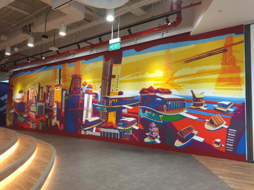 Murals by Didier Jaba Mathieu seen at Marina Bay Financial Centre Branch, Singapore - Mural