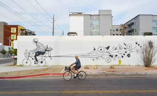 Street Murals by Carrie Marill seen at 2nd Street and Roosevelt, Downtown Phoenix, Phoenix - The Bicycle Mural