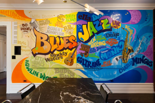 Murals by Cey Adams seen at Williamson Residence, Williamson - Jazz and Blues