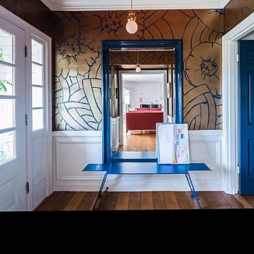 Wall Treatments by Caroline Lizarraga seen at Private Residence, Berkeley - Bronze and Blue Wall Treatment
