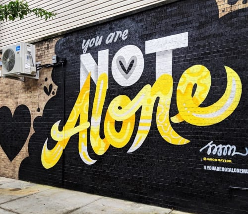 Street Murals by Jason Naylor seen at Leslie's Kitchen, Brooklyn - You Are Not Alone
