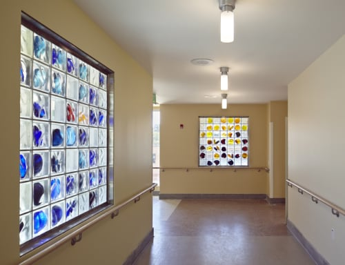 Wall Hangings by Arlan Huang seen at Laguna Honda Hospital and Rehabilitation Center, San Francisco - Glass Block Windows
