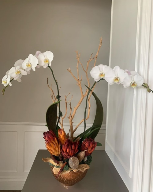 Floral Arrangements by Fleurina Designs seen at Almaden Golf & Country Club, San Jose - Vibrant Orchid Arrangements