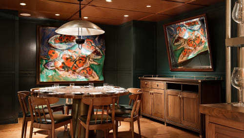 Murals by Judy Rifka seen at Union Square Café, New York - Signature Mural Installation