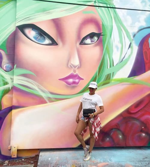 """Street Murals by Yuhmi Collective seen at Wynwood Art District, Miami - """"Dream"""""""