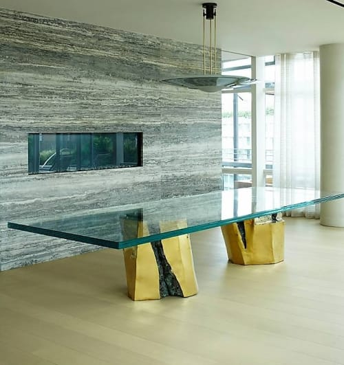 Tables by Silas Seandel Studio Inc seen at Tribeca Triplex, New York, New York - Sculptural Two Pedestals dining table