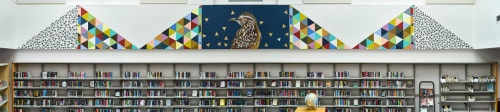 Murals by Carrie Marill seen at Palomino Library, Scottsdale - Cactus Wren - Library Mural