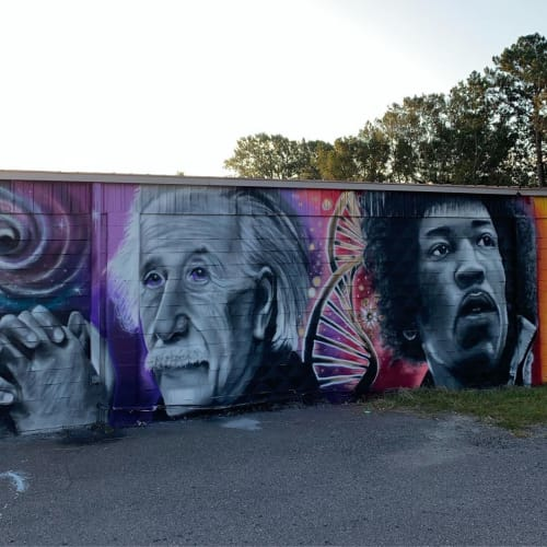 Murals by Garrett Mallekoote seen at Roumillat's Antiques & Auctions, Charleston - Mural