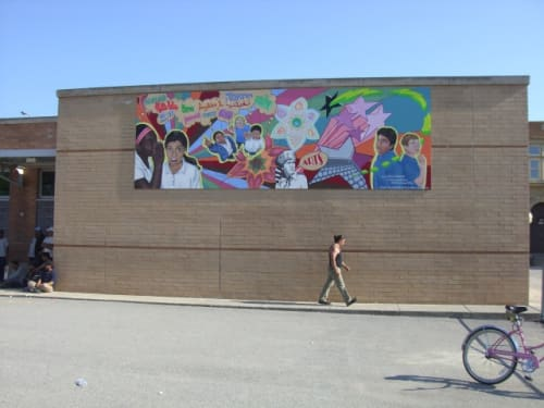 Murals by Mix Masters Murals seen at Boone Elementary School, Chicago, IL, Chicago - Playground Mural