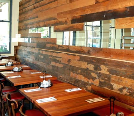 Furniture by Black's Farmwood seen at Tomatina (San Rafael, CA), San Rafael - Reclaimed Douglas Fir Beam Wall Cladding