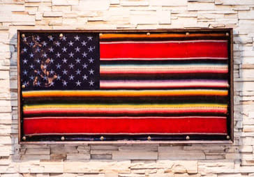 Paintings by Andrew Atkinson seen at Mercado Los Angeles, Los Angeles - Mexican-American Flag